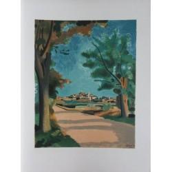 André DERAIN : Original lithograph - Village in Provence