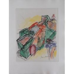 Jacques VILLON : Original etching - Cart on road
