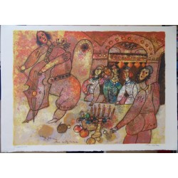 Theo TOBIASSE - Lithograph : Meal with friends