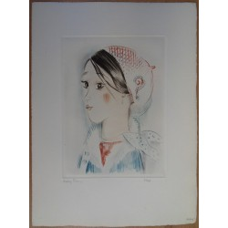 Mily POSSOZ - Etching : Young girl with ?