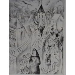 Mily POSSOZ - Etching : The church of Fontenay