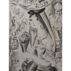 Mily POSSOZ - Etching : Young girl with basil