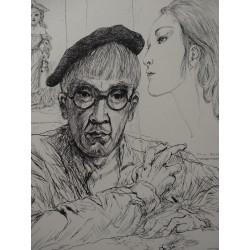 Leonard FOUJITA - Gravure : Autoportrait avec Kimiyo