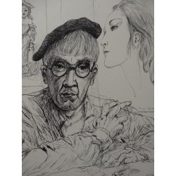Leonard FOUJITA - Etching : Selfportrait with Kimiyo