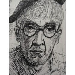 Leonard FOUJITA - Etching : Selfportrait with Kimiyo