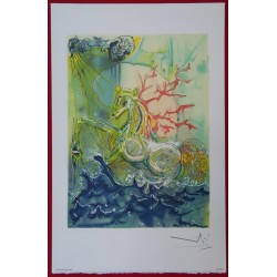 Salvador DALI - Lithograph (Dalinians Horses) - Neptune