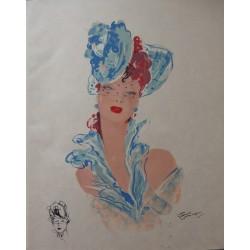 Jean-Gabriel DOMERGUE - Lithograph - Red hair girl with a bibi hat
