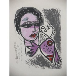 Guillaume CORNEILLE - Lithograph - Insect and woman
