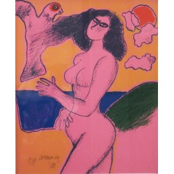 Guillaume CORNEILLE - Lithograph - Pink Woman