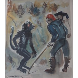Yves BRAYER - Watercolor - In front of the monkey