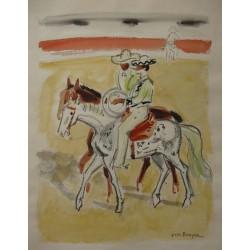Yves BRAYER - Watercolor - Two toreadors