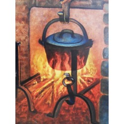 Louis TOFFOLI - Lithgraph - The fireplace