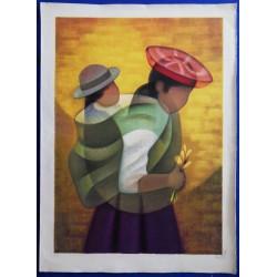 Louis TOFFOLI - Lithograph - Peruvian Motherhood