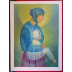 Louis TOFFOLI - Lithograph - Blue Motherhood