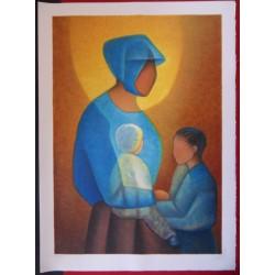 Louis TOFFOLI - Lithograph - Maternal gentleness