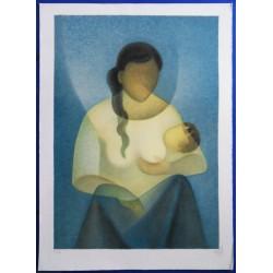 Louis TOFFOLI - Lithograph - Serene maternity