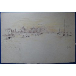 Andre HAMBOURG - Lithograph - Harbour, high tide