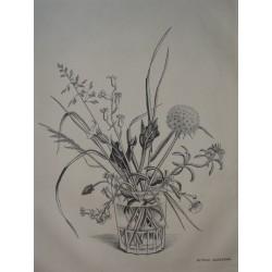 Kiyoshi HASEGAWA - Original drypoint etching - Spring flowers