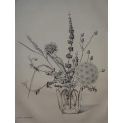 Kiyoshi HASEGAWA - Original drypoint etching - Fall flowers