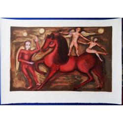 "Marcel MARCEAU (""le Mime"") - Lithograph : Red horse"
