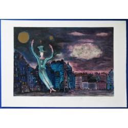 """Marcel MARCEAU (""""le Mime"""") - Lithograph : Bip in Paris"""