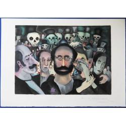 """Marcel MARCEAU (""""le Mime"""") - Lithograph : Sad Crowd"""