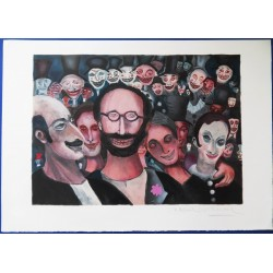 """Marcel MARCEAU (""""le Mime"""") - Lithograph : Happy Crowd"""
