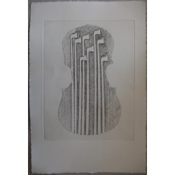 ARMAN - Original etching : Violin and bows