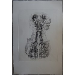 ARMAN - Original etching : Violin and scrolls