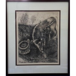 Marc CHAGALL - Etching : The frog and the cow