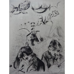 Marc CHAGALL - Etching : Dead Souls