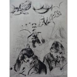 Marc CHAGALL : Gravure - Les âmes mortes