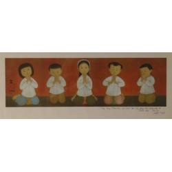 MAI THU - Signed lithograph : Praying children