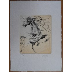 Jean-Marie GUINY - Signed etching : Rearing horse