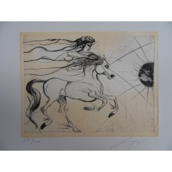 Jean-Marie GUINY - Signed etching : Couple of horse