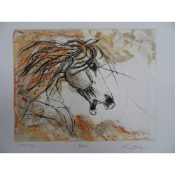 Jean-Marie GUINY - Signed etching : The horse Pablo