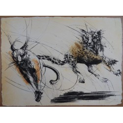 Jean-Marie GUINY - Signed etching : Cheetah race