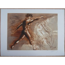 Jean-Marie GUINY - Signed etching : Training sportsman