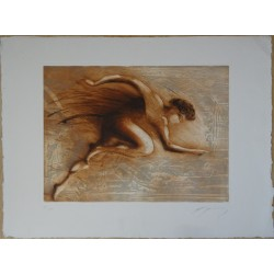 Jean-Marie GUINY - Signed etching : Starting blocks
