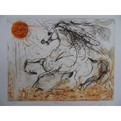 JeanMarie GUINY - Signed etching : Horse & sun