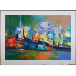 Marcel MOULY - Lithograph : Morning at the harbour