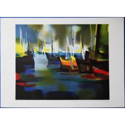 Marcel MOULY - Lithograph : Sunset on the marina