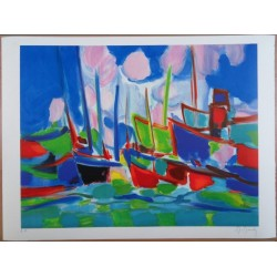 Marcel MOULY - Lithograph : The marina