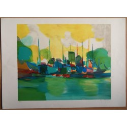 Marcel MOULY - Lithograph : The green harbour