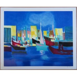 Marcel MOULY - Lithograph : The harbour