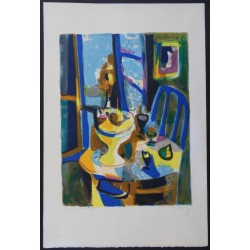 Marcel MOULY - Lithograph : Still life with fruits