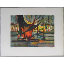 Marcel MOULY - Lithograph : The red and the black
