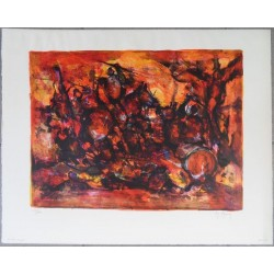 Marcel MOULY - Lithograph : Fight in red