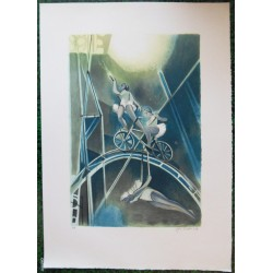 Camille HILAIRE - Lithograph : The tightrope walker