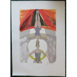 Camille HILAIRE - Lithograph : The Equilibrist